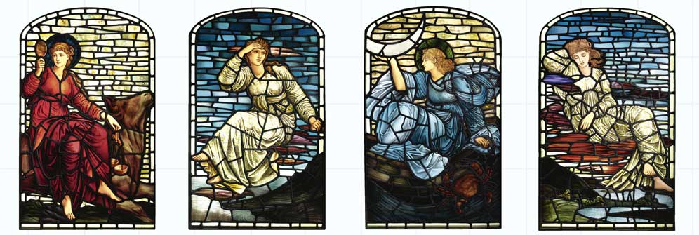 Edward Burne-Jones Stars and Planets, tile panels from stained glass