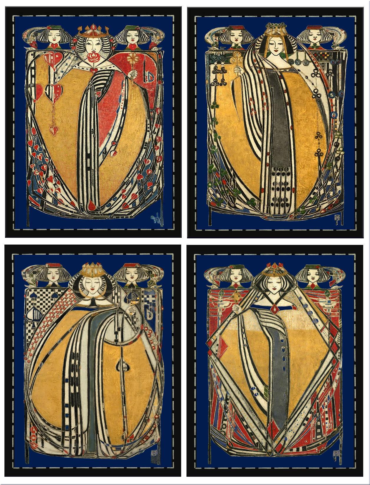 Margaret Macdonald Four Queens tiles, 1909