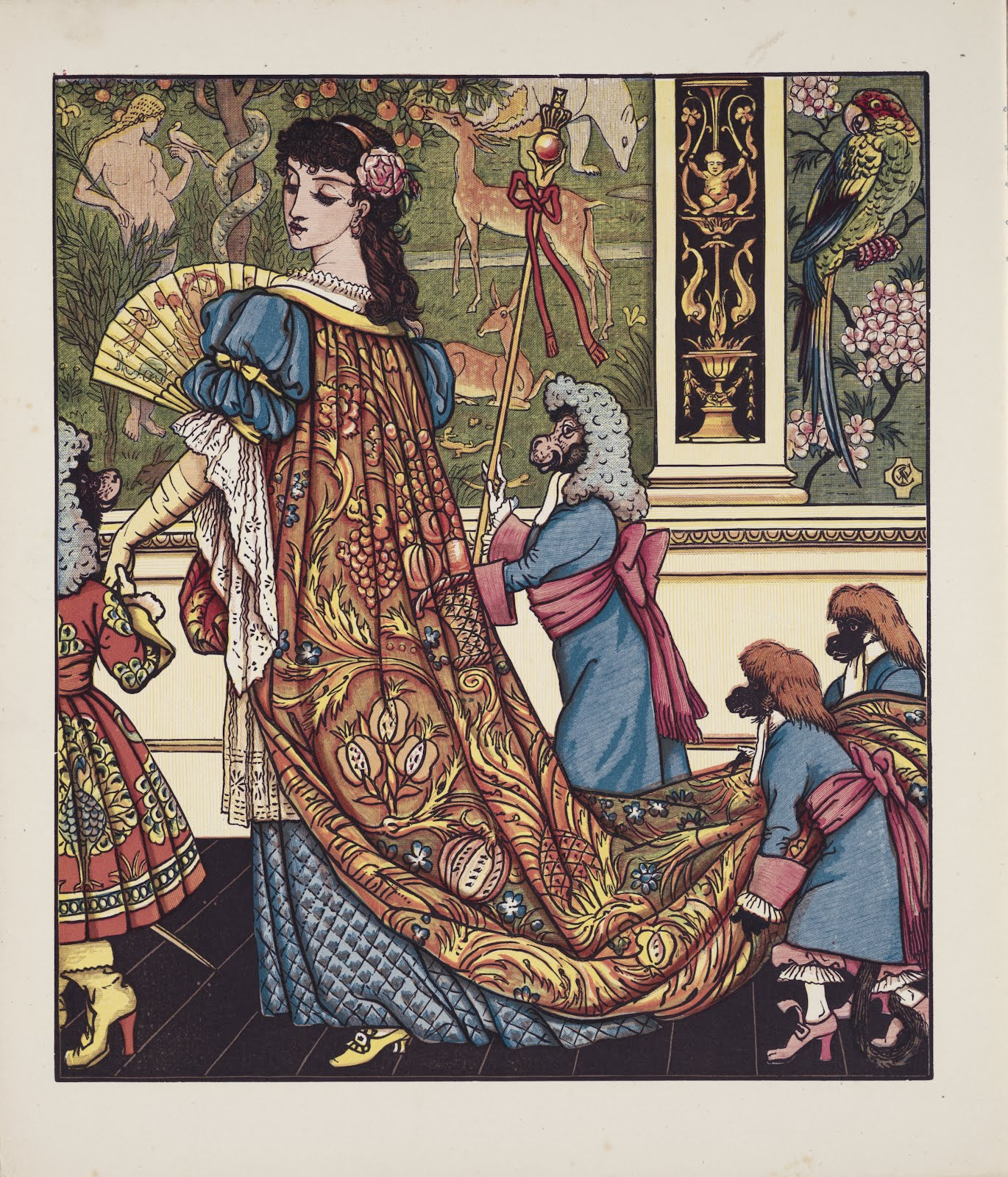 Walter Crane 'Beauty and the Beast' wearing a Morris-like print, and a medieval scene, so emblematic of the Pre-Raphaelites, in the background
