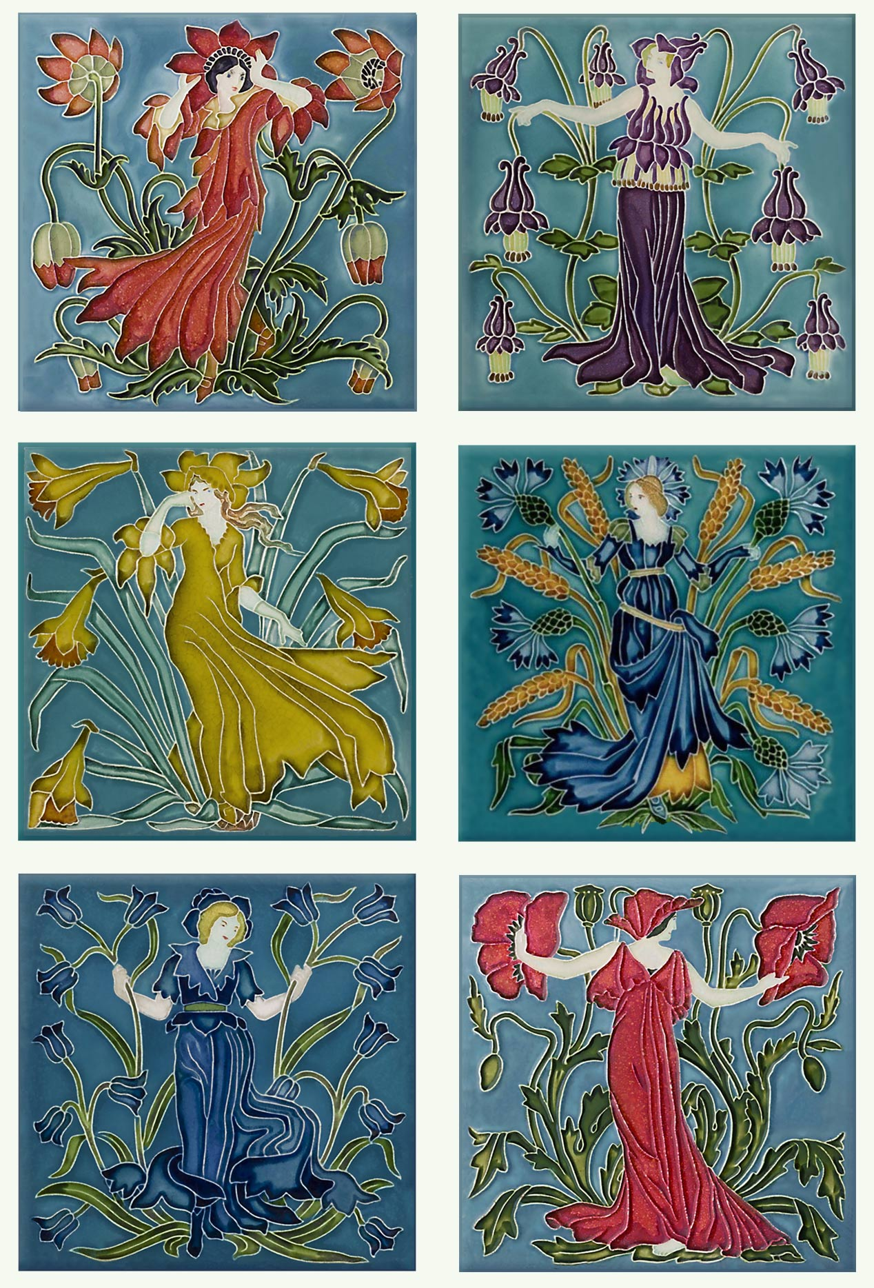 Walter Crane 'Flora's Train' flower tiles - From top left: anemone, columbine, daffodil, cornflower, bluebell, poppy.