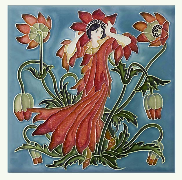 Walter Crane Anemone tile, from the 'Flora's Train' set of flower tiles.