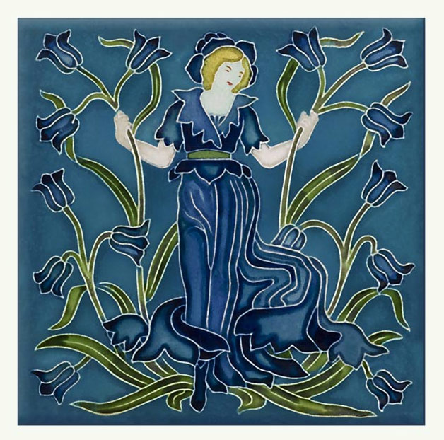 Walter Crane Bluebell tile, from the 'Flora's Train' set of flower tiles.