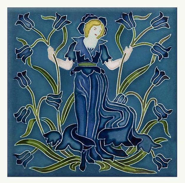 Walter Crane Bluebell tile, from the 'Flora's Train' set of flower tiles.