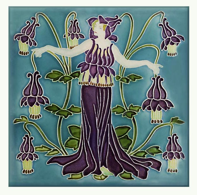 Walter Crane Columbine tile, from the 'Flora's Train' set of flower tiles.