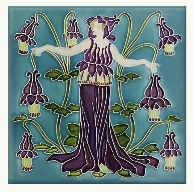 Walter Crane Columbine tile, from the 'Flora's Train' set of flower tiles.