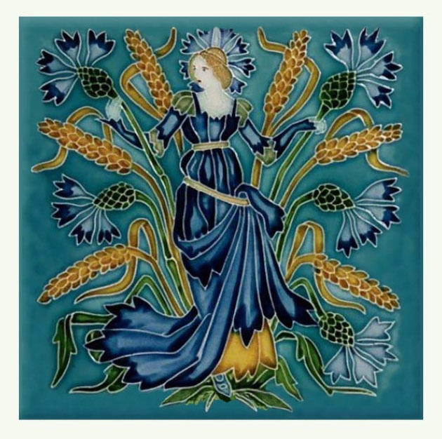 Walter Crane Cornflower tile, from the 'Flora's Train' set of flower tiles.