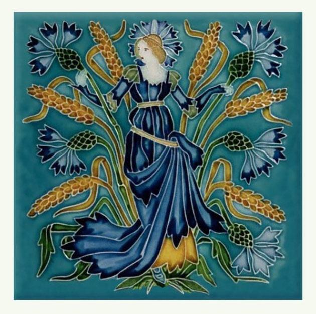 Walter Crane Cornflower tile, from the 'Flora's Train' set of flower tiles.