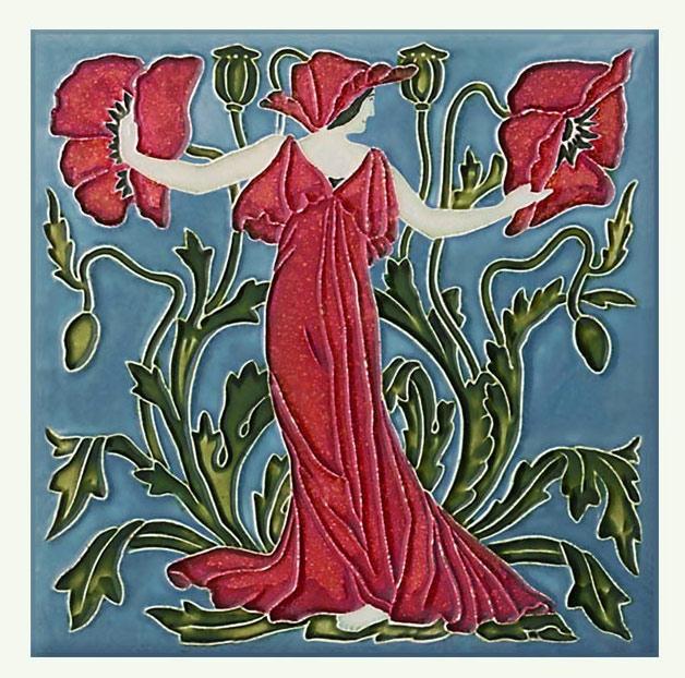 Walter Crane Poppy tile, from the 'Flora's Train' set of flower tiles.