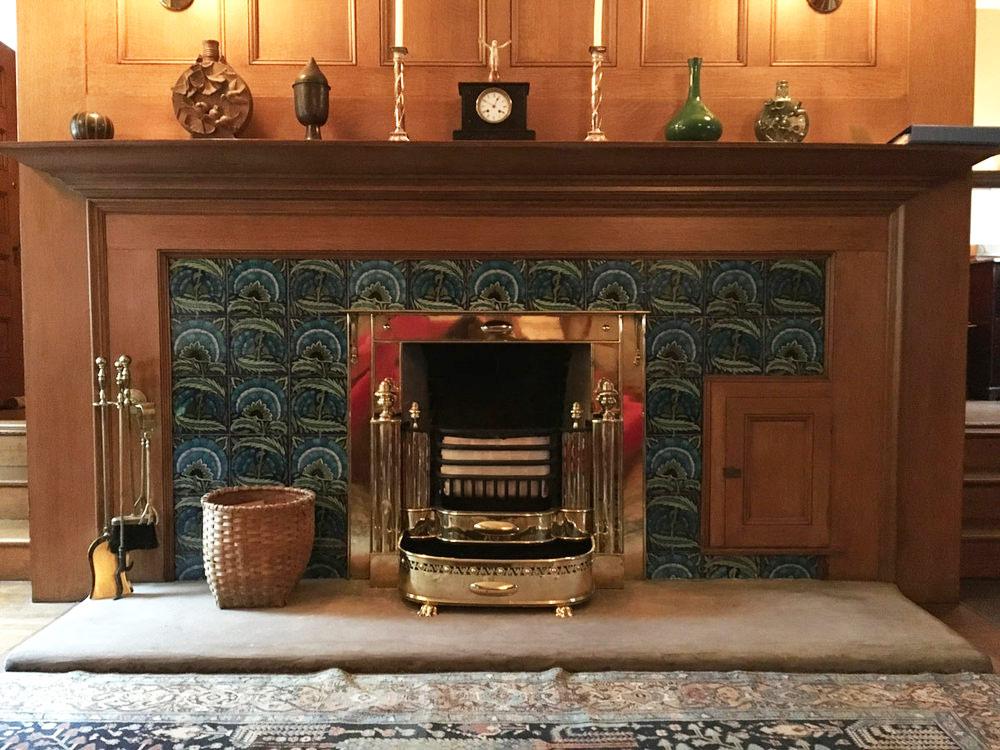 William De Morgan tiles installed in master bedroom at Glessner House, Chicago