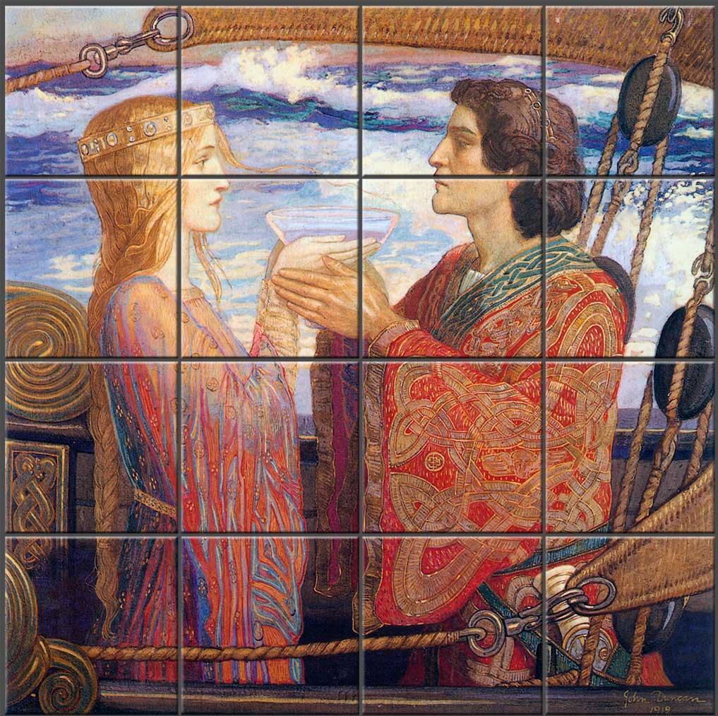 Tile backsplash based on John Duncan, Tristan and Isolde