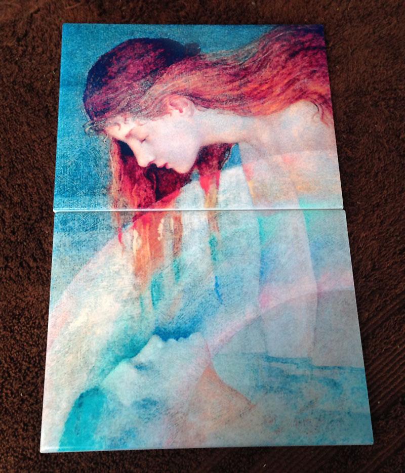 Art tile panel based on Phoebe Traquair Love's Testament, art tiles