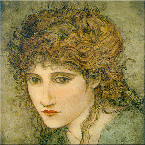 Hannah Moore Walton, Pre-Raphaelite paintd tile, after Edward Burne-Jones