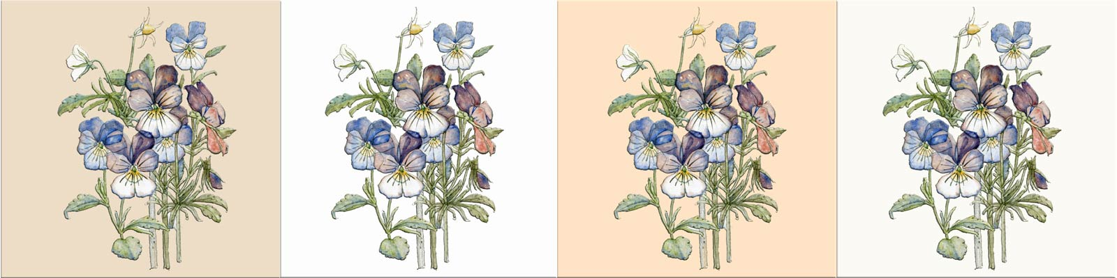 Charles Rennie Mackintosh flowers shown on bisque, Navajo, parchment, and wheat backgrounds.