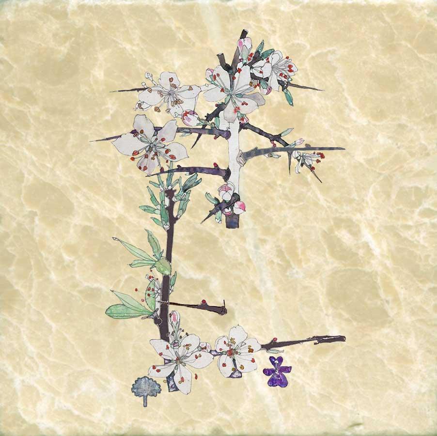 Blackthorn, Charles Rennie Mackintosh, 6 inch tumbled marble