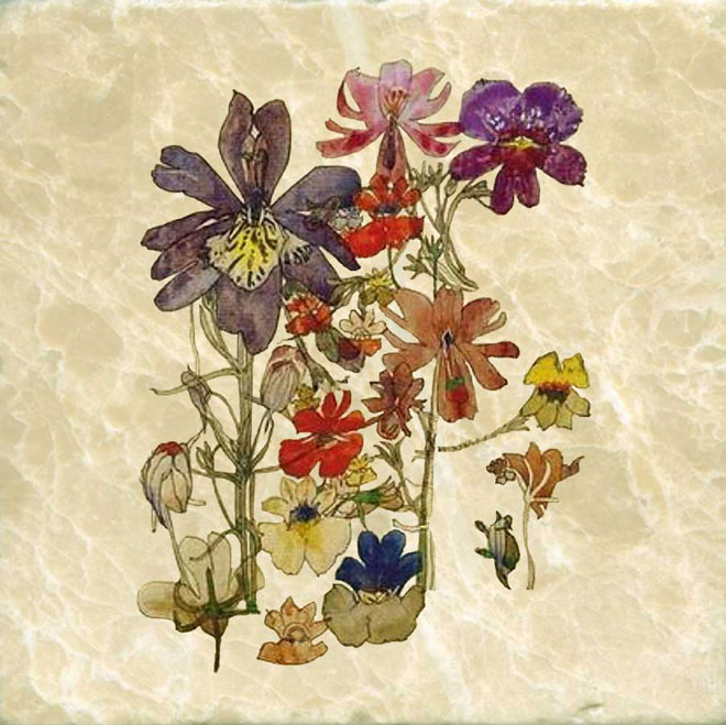 Charles Renne Mackintosh Butterfly flowers, tumbled marble stone tile. WilliamMorrisTile.com