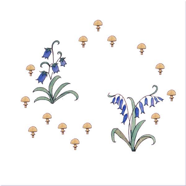 Bluebells and Mushrooms, Alice in Wonderland tiles, by CFA Voysey, 1890