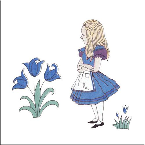 Alice herself, Alice in Wonderland tiles, by CFA Voysey, 1890