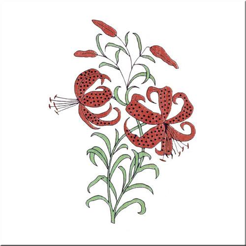 Tiger Lily, Alice in Wonderland tiles, by CFA Voysey, 1890