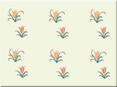 CFA Voysey Alice in Wonderland tulip field tile