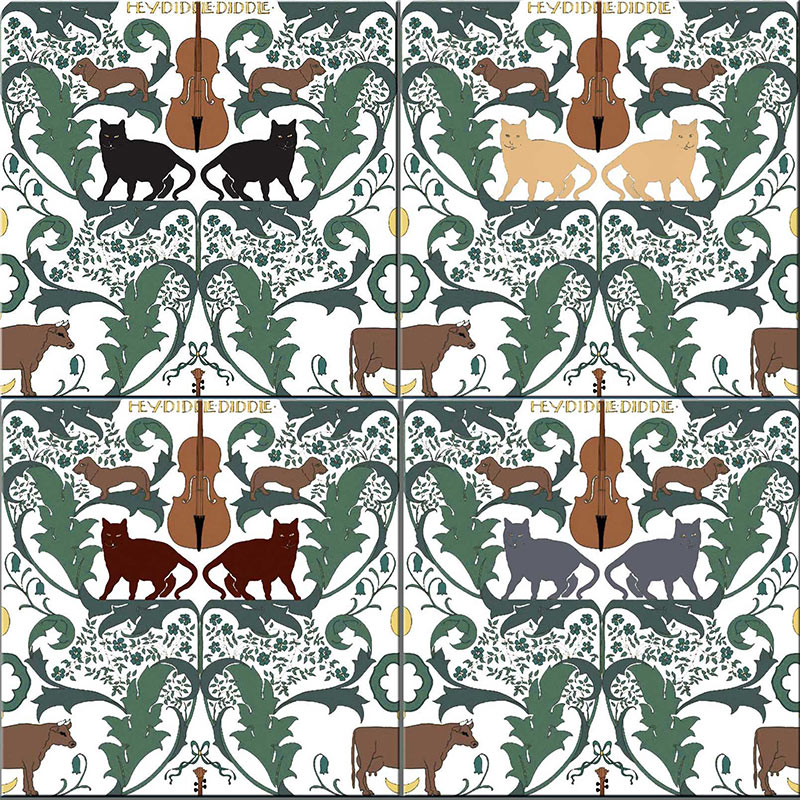 CFA Voysey Cat tiles in four colorways