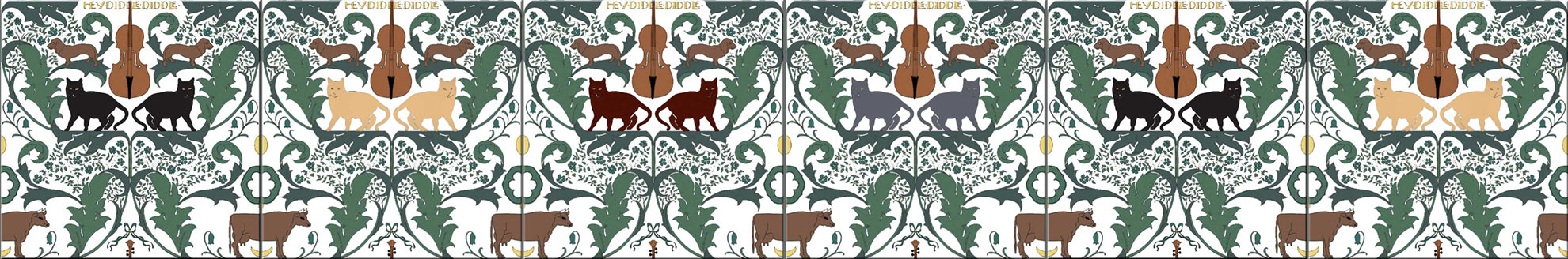 CFA Voysey tiles: Hey Diddle Diddle tiles, with different cat colorways