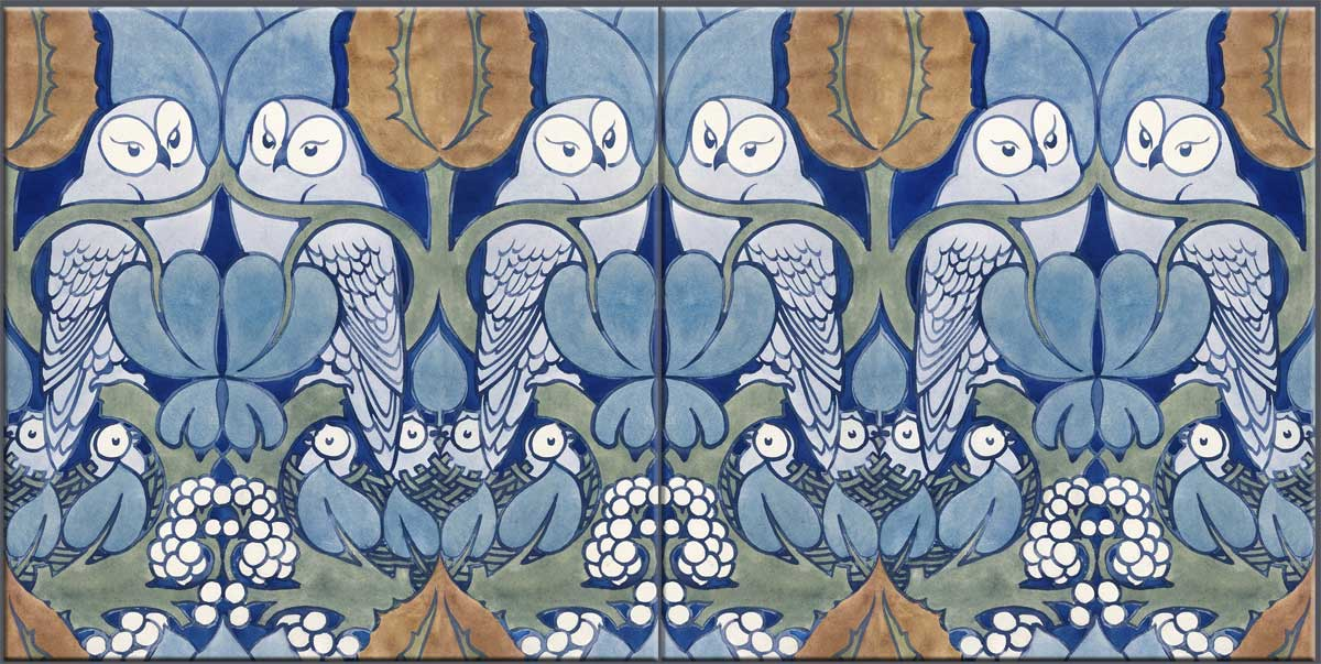 CFA Voysey owls, two facing tiles, blue and orange colorway