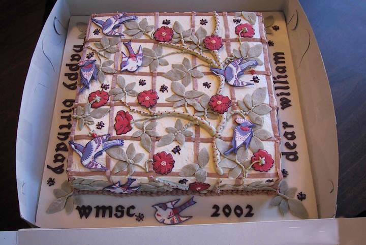 William Morris Birthday Cake 2002, Bird and Trellis pattern, William Morris Society of Canada