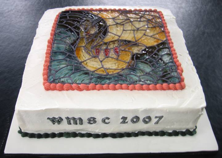 William Morris Birthday Cake 2007, Edward Burne-Jones' Viking Ship sugar glass painted with colored piping gel, William Morris Society of Canada