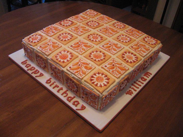 William Morris Birthday Cake 2008, Longden tile pattern, sugar tiles on buttercream. WMSC