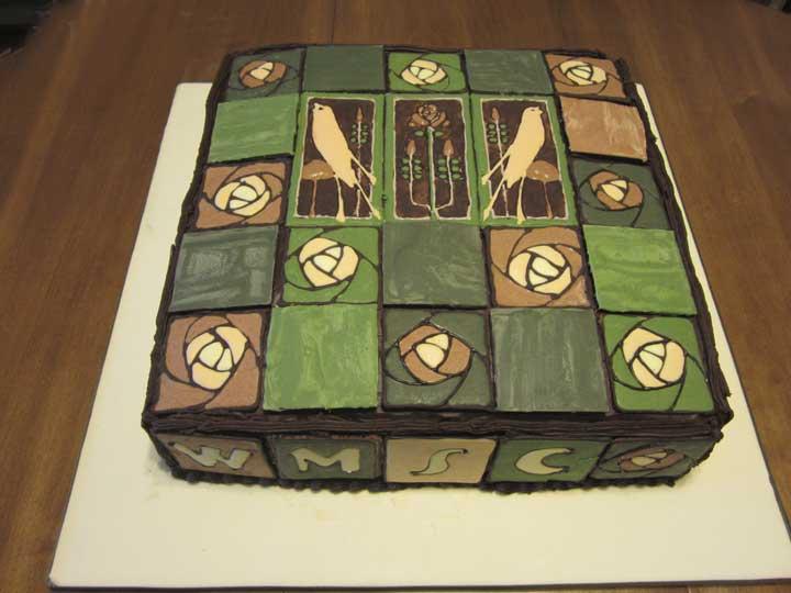 2012 cake, Motawi Arts & Crafts Tile, dark chocolate, mostly Callebaut 72%, William Morris Society of Canada