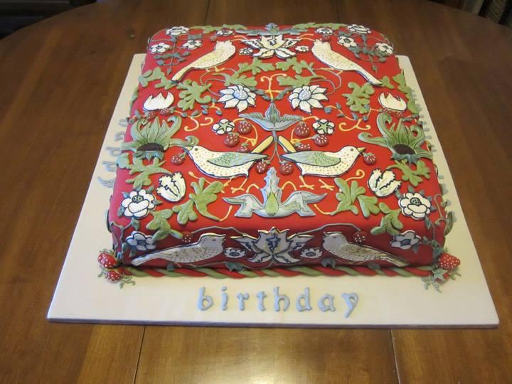 William Morris Birthday Cake 2014, Strawberry Thief, fondant background, William Morris Society of Canada