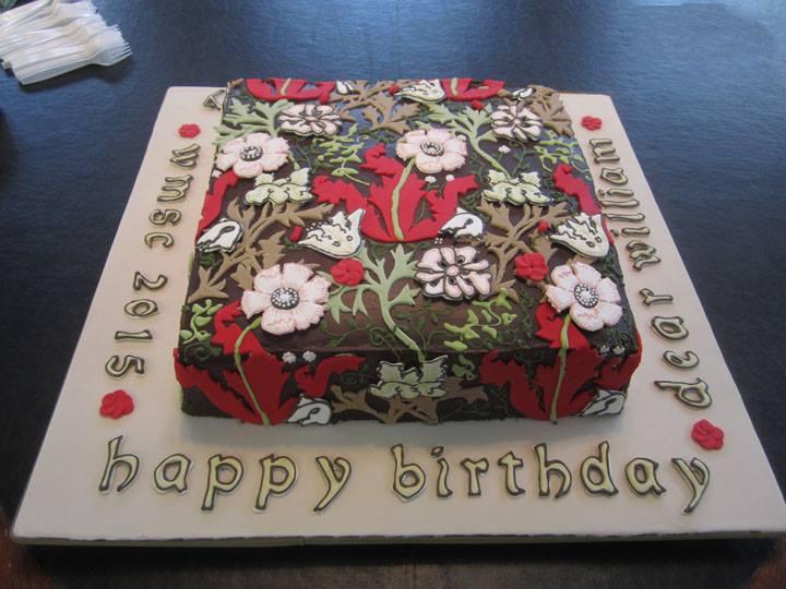 William Morris Birthday Cake 2015, Compton pattern, two coats of ganache, William Morris Society of Canada