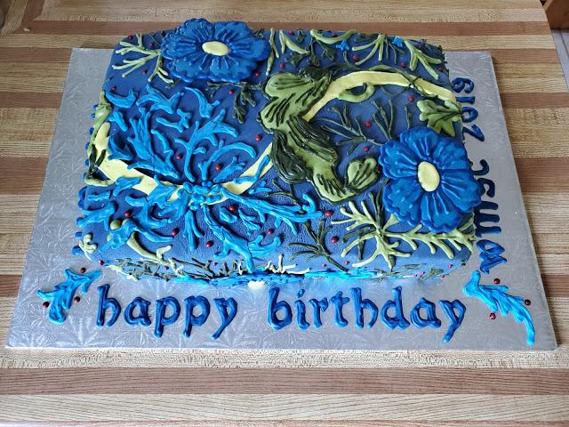 William Morris Birthday Cake 2019, Seaweed, Chocolate with a mascarpone-black currant filling. Made by Lera Kotsyuba for WMSC.
