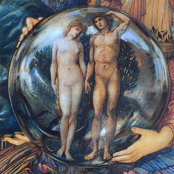 Edward Burne-Jones, Days of Creation Angels, Globe showing Adam and Eve from the Sixth Day of Creation