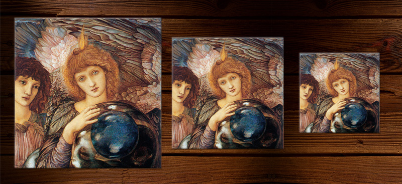 Edward Burne-Jones first angel, showing relative sizes of 8-inch, 6-inch, and 4.25 inch tiles