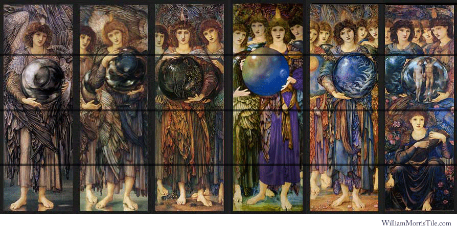 William Morris Tile panels: Days of Creation Angels, Sir Edward Coley Burne-Jones, including the lost fourth angel