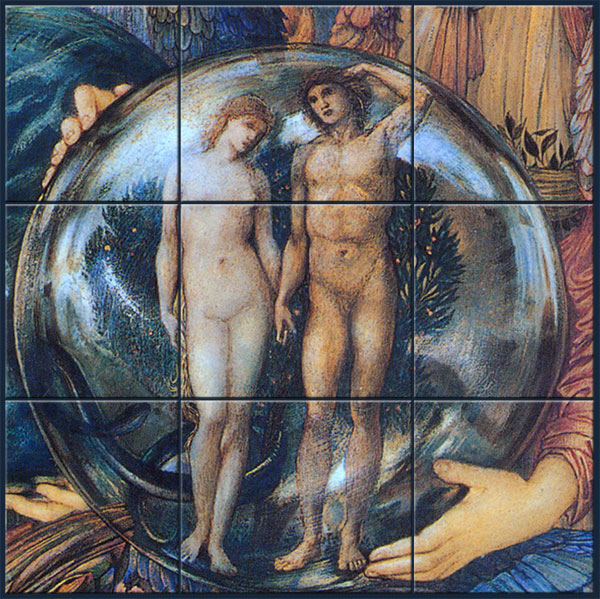 Detail of the Sixth Day of Creation showing the globe, with Adam and Eve in the garden.