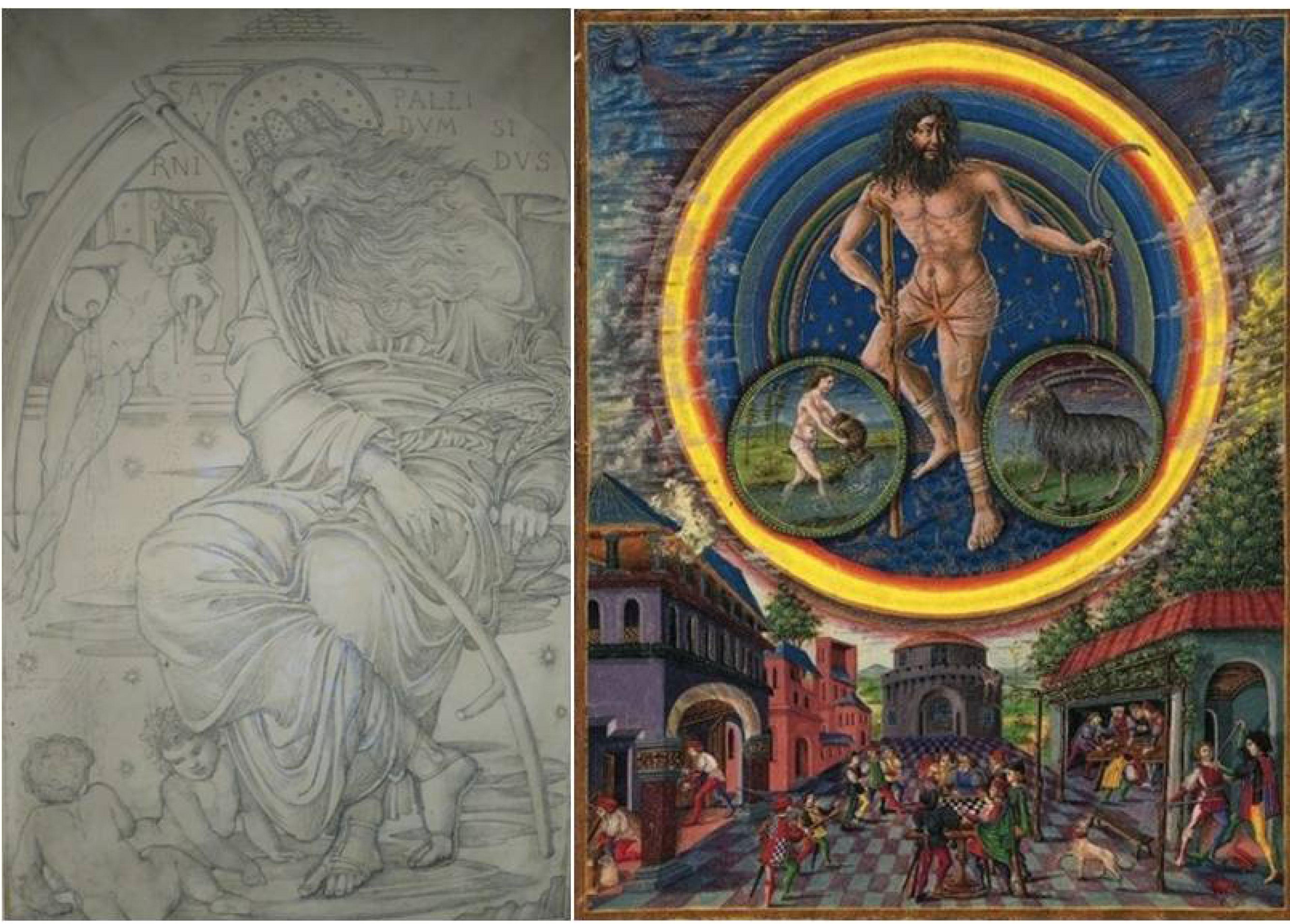 Edward Burne-Jones 1878 design for Saturn stained glass panel and medieval Saturn from De Sphaera Mundi