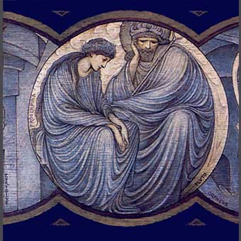 William Morris Tile: Orpheus and Eurydice tile panel, detail