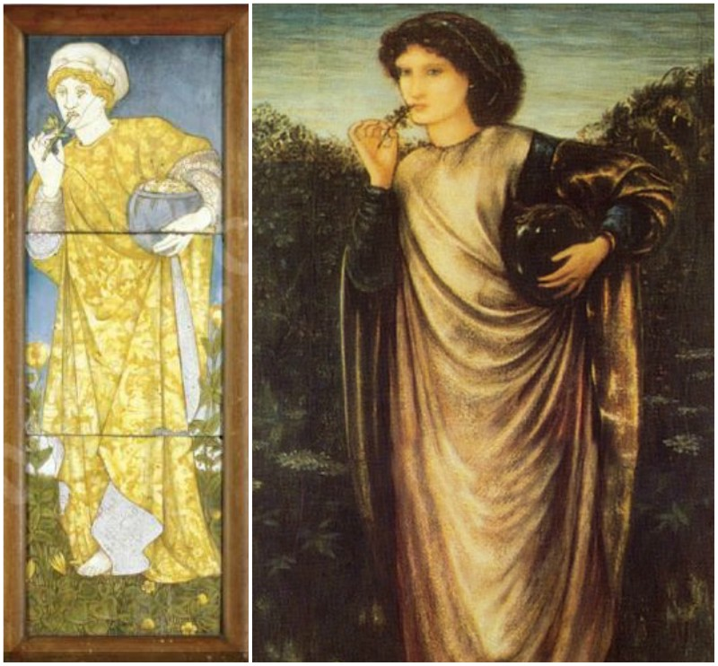 Left: Burne-Jones, tapestry design, unknown date,	Center: Burne-Jones tile panel, Medea, 1862. Right: Burne-Jones, Morgan Le Fay, 1862
