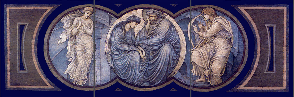 Orpheus and Eurydice, a three-panel tile border scroll based on a piano decoration by Burne-Jones