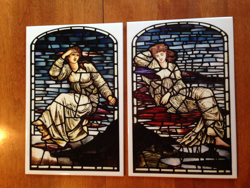 Edward Burne-Jones, Morning and Evening Stars.  Tiles from stained glass. William Morris Tile.