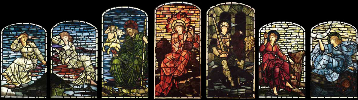 Edward Burne-Jones, Stars and Planets panels from Woodlands Hall
