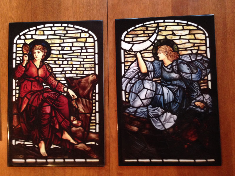 Edward Burne-Jones, Venus and Luna.  Tiles from stained glass. William Morris Tile.