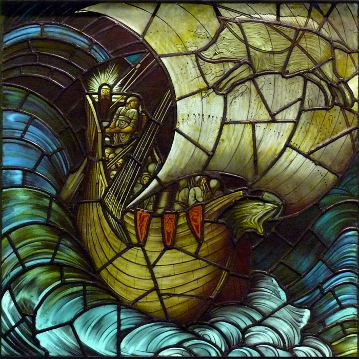 Edward Burne-Jones Viking Ship tile, based on the stained glass window for Morris and Co, 1883