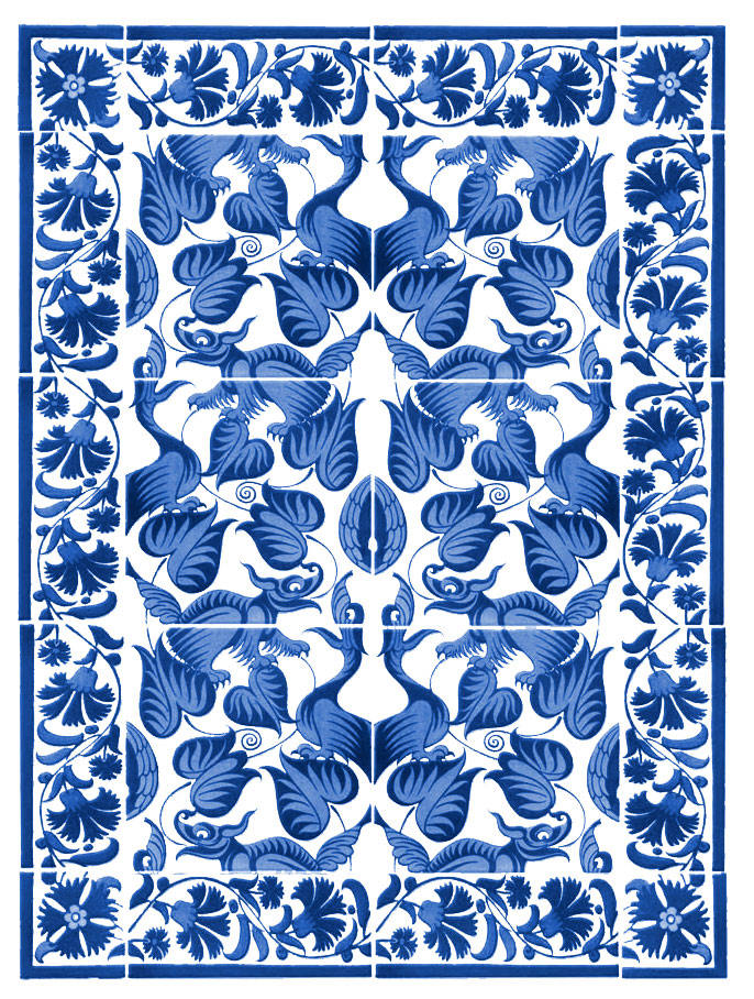 William De Morgan Reproducton Tile Panel, 'Happy Dragons'. Twenty-tile panel, with foliage border.  Center tiles are six inches.