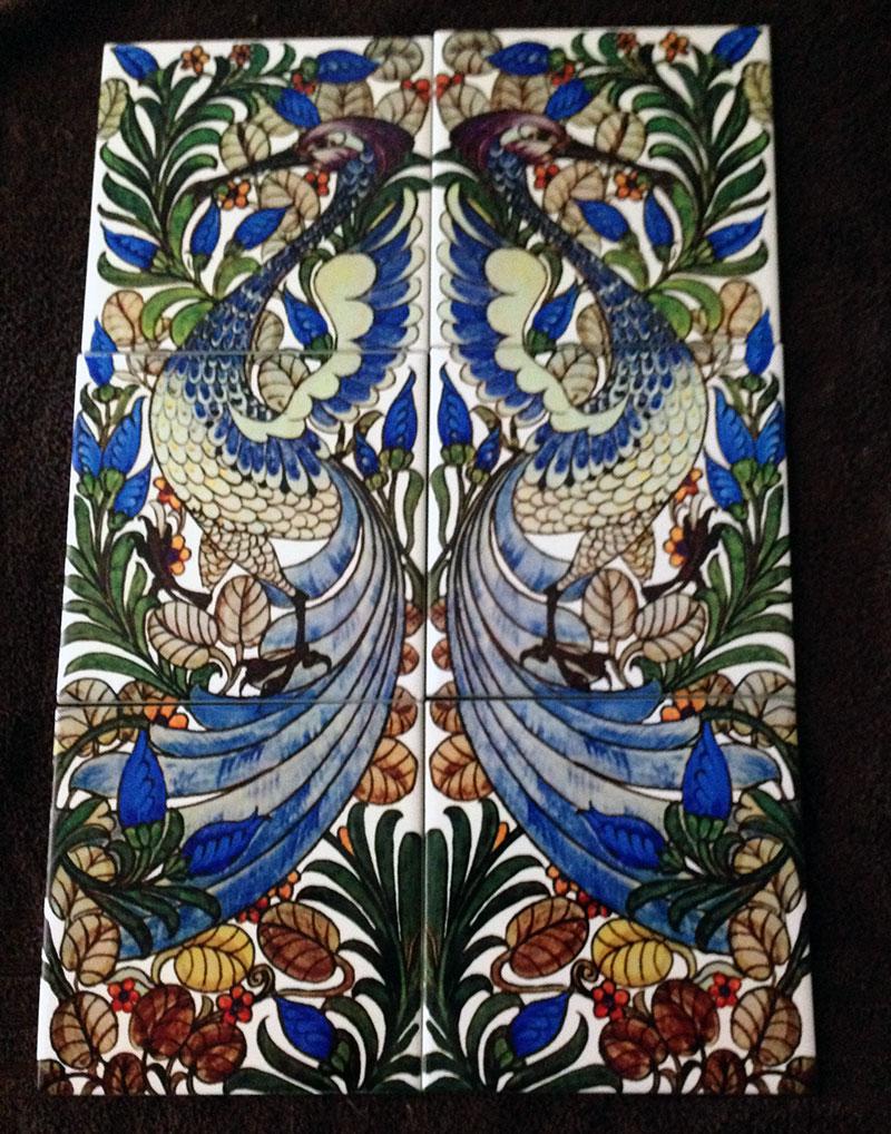 De Morgan Art Nouveau Fantastic Bird tile panel on three 8-inch tiles