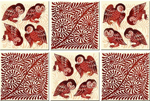 William De Morgan did several versions of owls, some quite witchy. These reproduction tiles, probably from his Merton Abby period, feature Barn Owls and flying foliage scrolls.  Source: WilliamMorristile.com