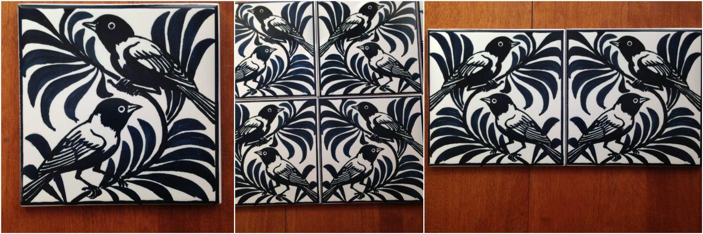 William De Morgan Blue Weavers, blue-black variations. William Morris Tile