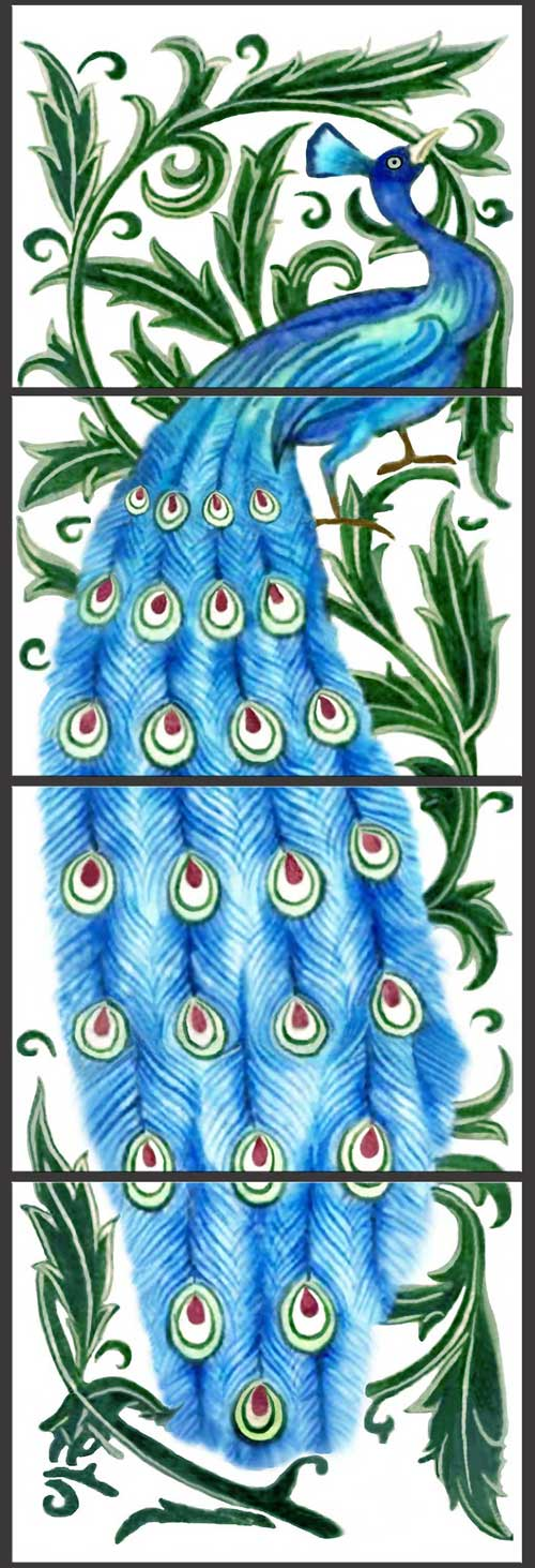 William De Morgan Blue Peacock panel, WilliamMorrisTile.com
